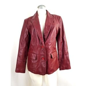 Margaret Godfrey Size 10 Red Leather Blazer Jacket